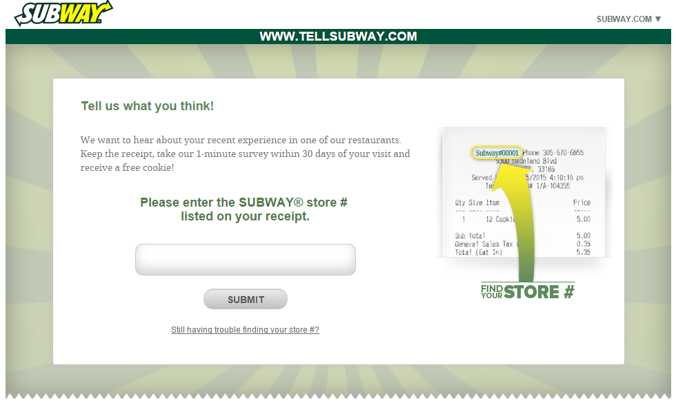 Subway survey at www.tellsubway.com