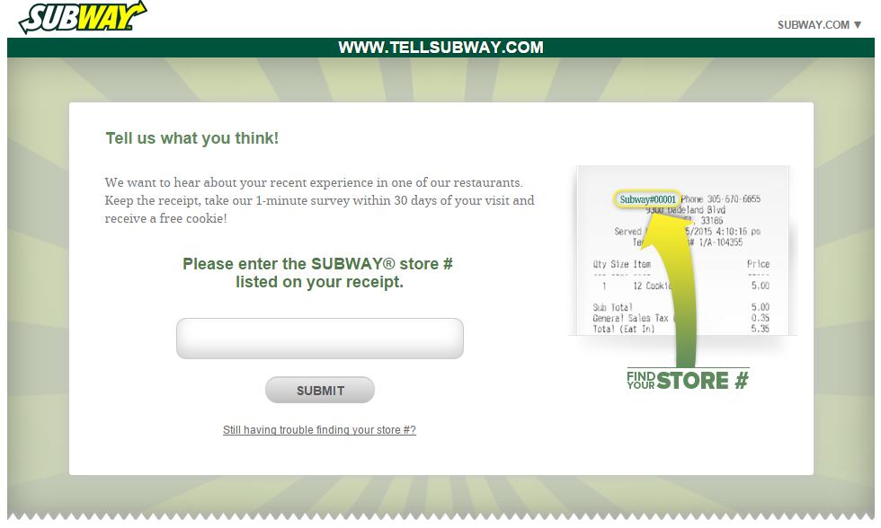 Subway survey at www.tellsubway.com