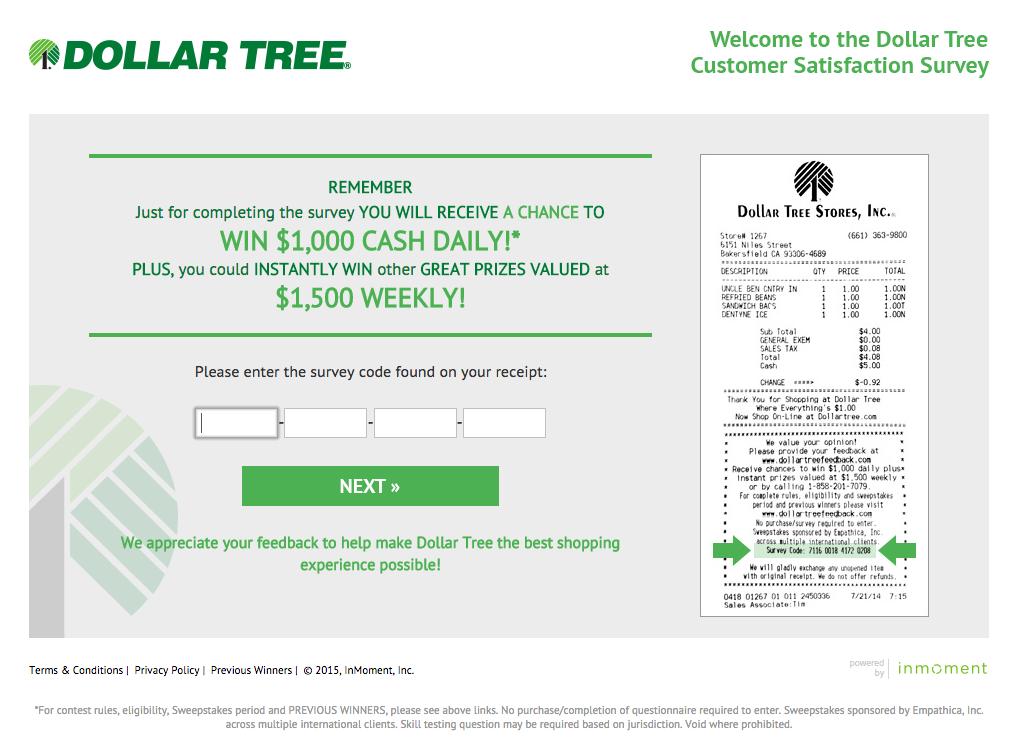 Screenshot of the Dollar Tree survey