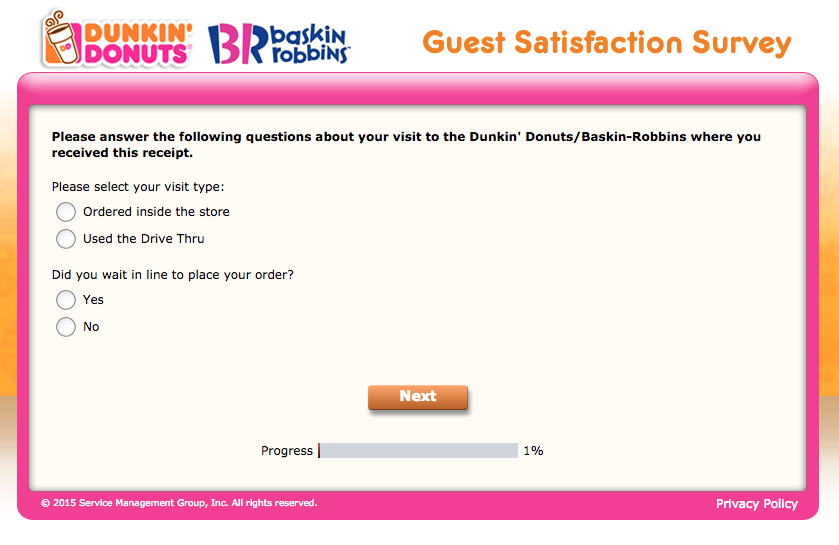 The Tell Dunkin Survey, screenshot no.1.