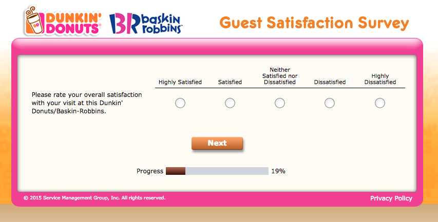The Tell Dunkin Survey, screenshot no.2.