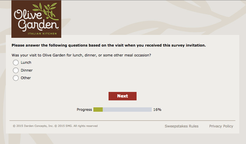 Olive Garden Survey printscreen no. 1.