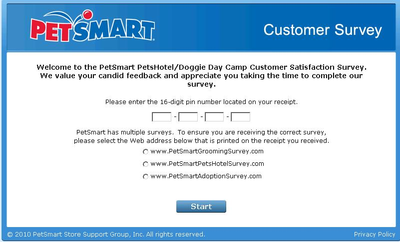 petsmart feedback survey landing page