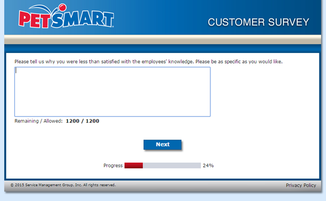 PetSmart Feedback survey screenshot nr. 5