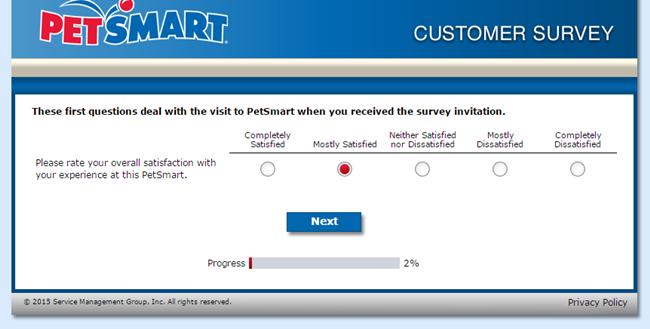 PetSmart Feedback Survey screenshot 2