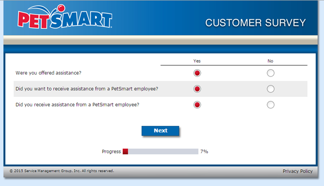 PetSmart Feedback Survey screenshot nr. 3