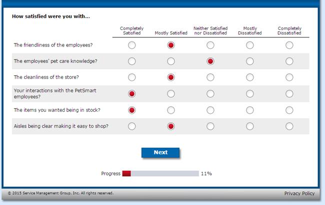 PetSmart survey at wwwpetsmartfeedback.com