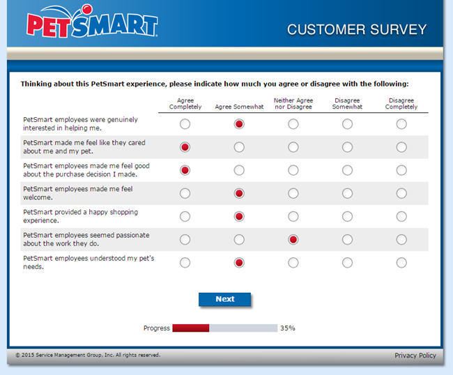 Petsmartfeedback.com survey screenshot