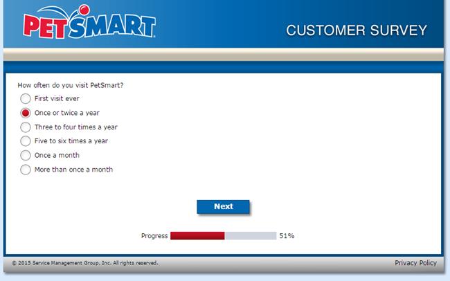 PetSmart survey screenshot nr. 7