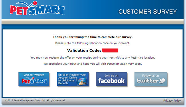 PetSmart Grooming Survey Yes/No questions