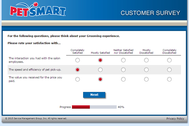 Screenshot of the PetSmart Grooming Survey with multiple-answers