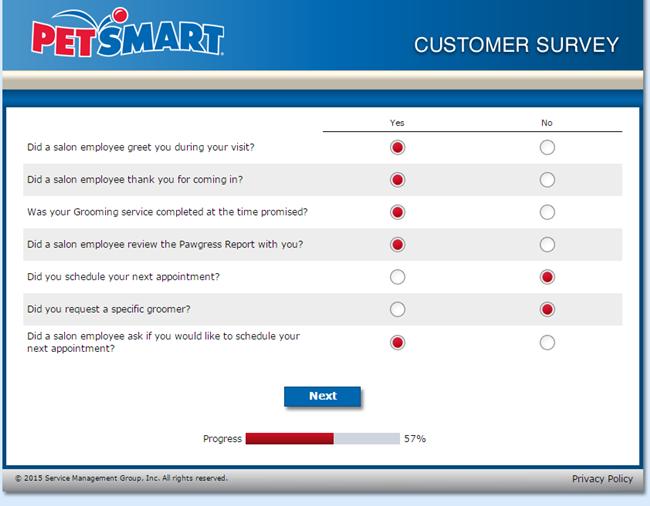 PetSmart Grooming Survey at www.petsmartgroomingsurvey.com