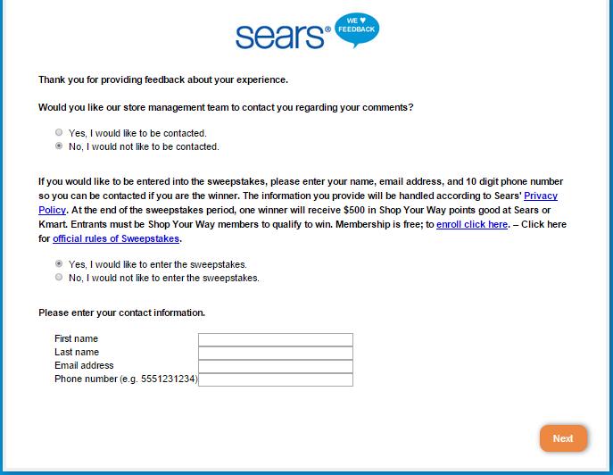 Sears Feedback survey at www.searsfeedback.com