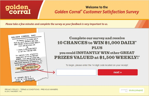 Golden Corral Listens Survey