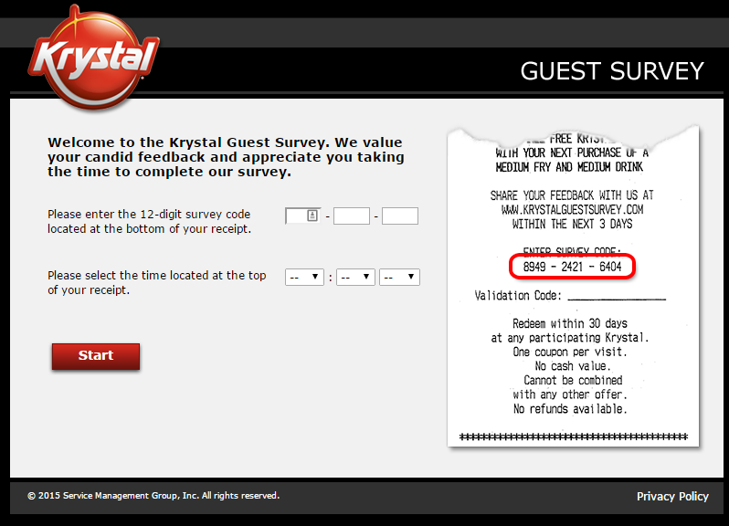 Krystal Guest Survey Screenshot