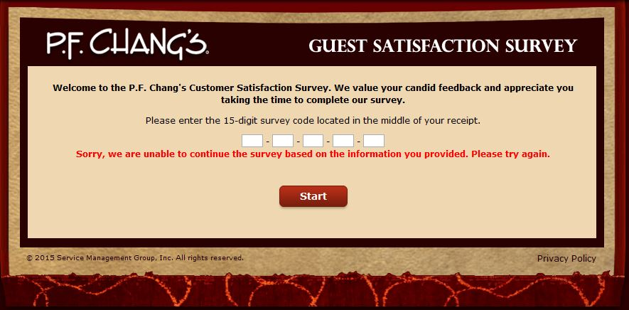 PF Changs Feedback Survey at www.pfchangsfeedback.com