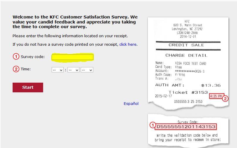 KFC Survey at www.mykfcexperience.com