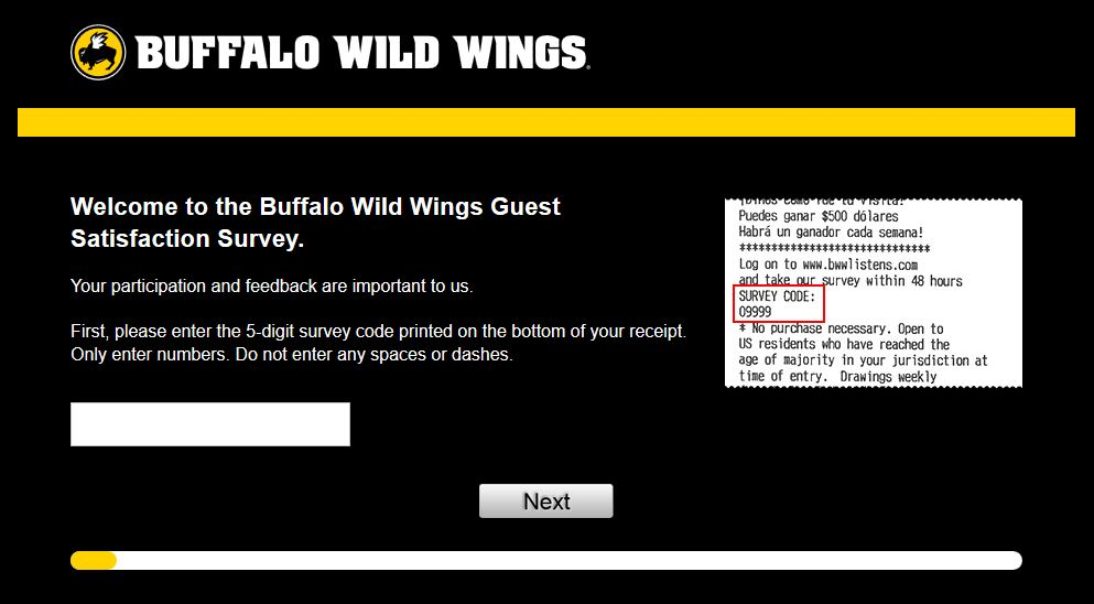 Buffalo wild wings survey coupon code