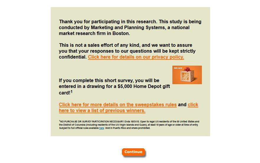 home depot survey page 2