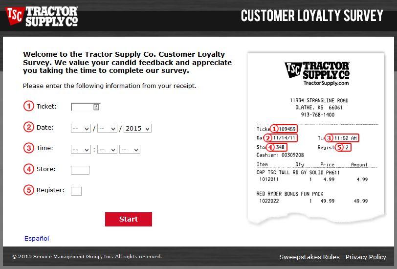 """tractor supply survey customer feedback co"""