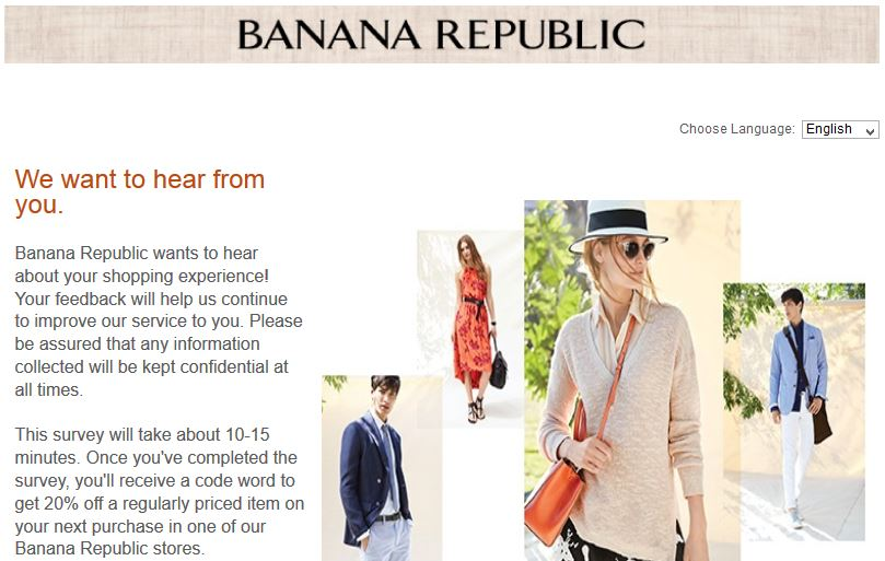 """banana republic survey www.survey4bn.com coupons hours locations"""
