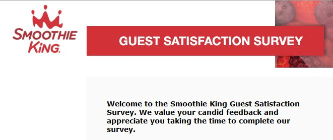 """smoothie king feedback guest satisfaction survey www.smoothieking.com"""