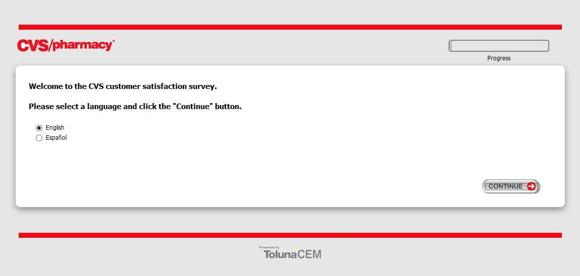 CVS Customer Survey screenshot of the first page.