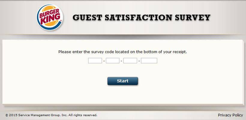 mybkexperience burger king survey code form
