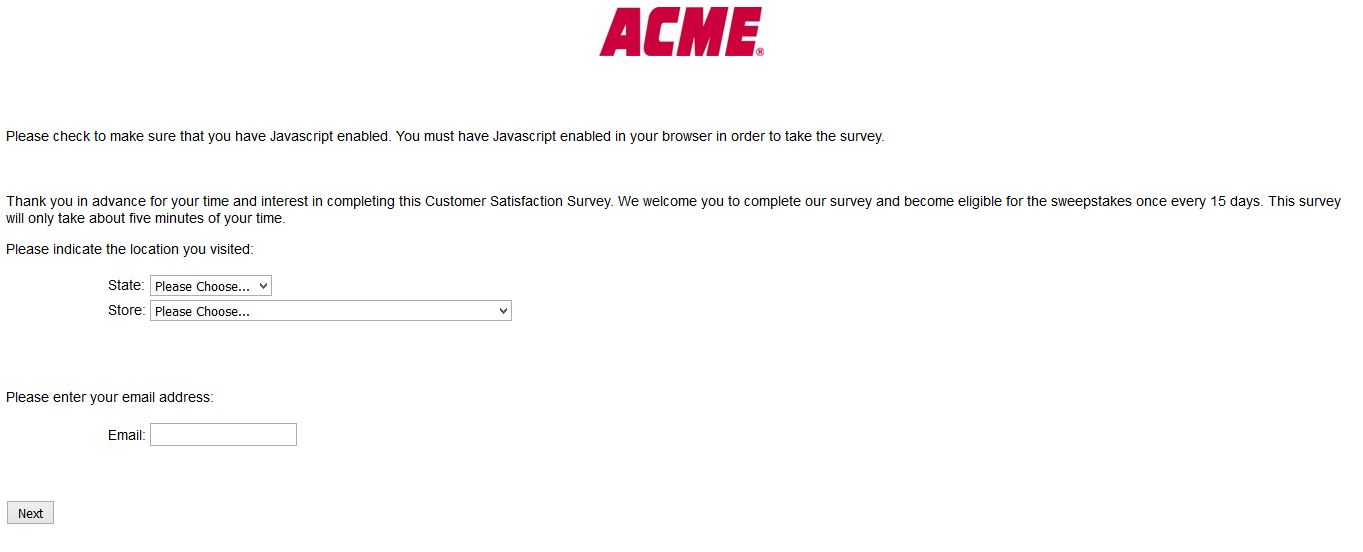 """acme survey acm survey acme markets survey acme survey acme logo www.acmemarkets.com"""