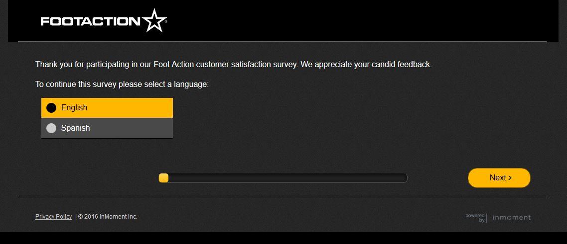 """foot action survey www.footactionsurvey.com footactionsurvey.com Foot Action online footaction code Foot Action client satisfaction survey screenshot"""