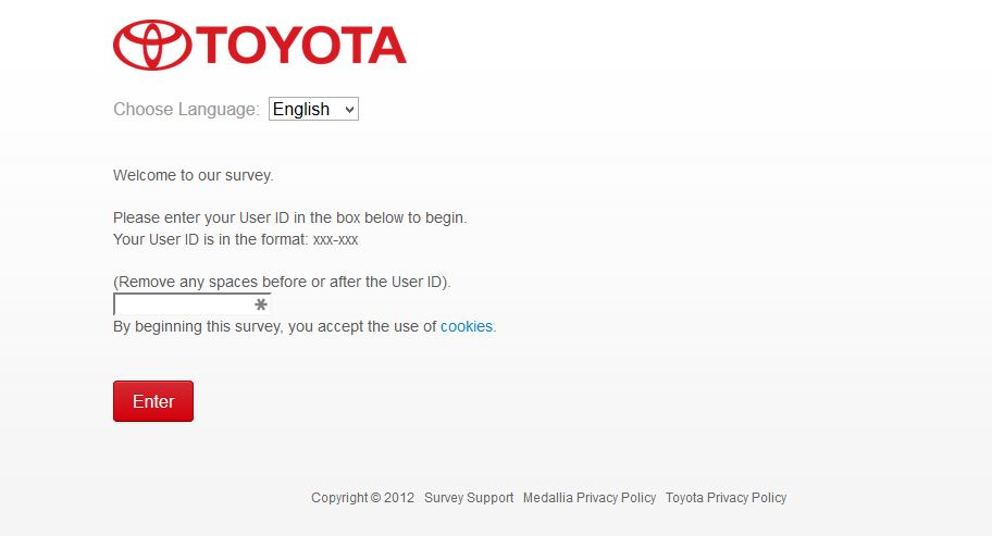 toyota survey screenshot