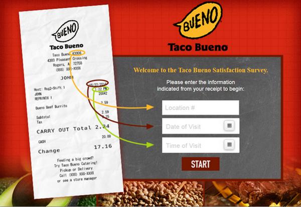 Screenshot of the Taco Bueno Survey