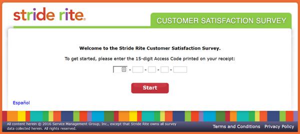 stride rite survey screenshot