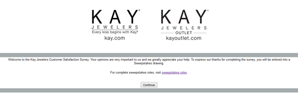 Kay Jewelers survey screenshot