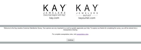 Kay Jewelers survey screenshot