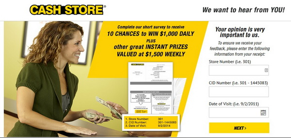 Screenshot of the Cash Store Survey Page