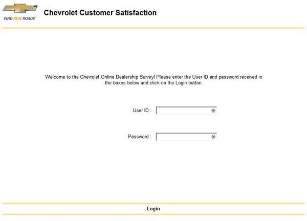 chevrolet dealership survey screenshot