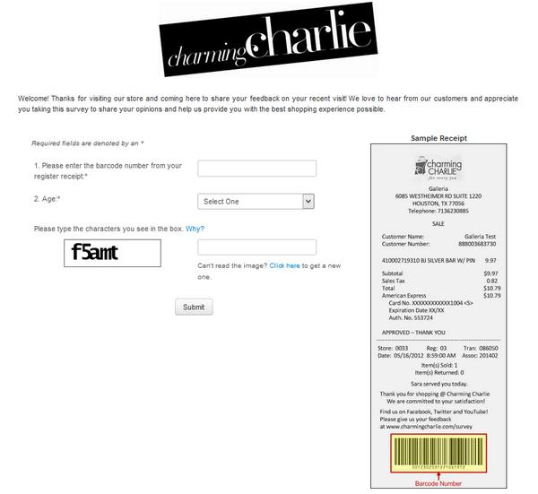 Charming Charlie survey screenshot