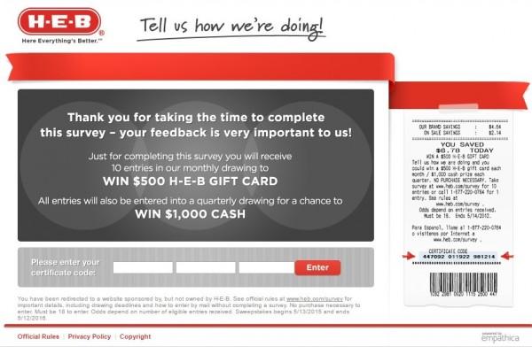 HEB client survey screenshot, HEB survey