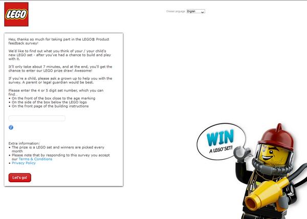 LEGO client survey screenshot
