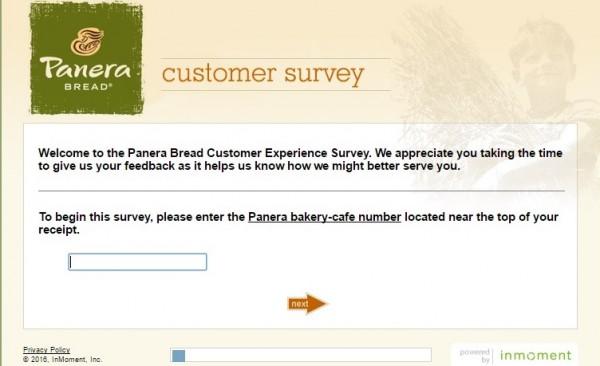 Panera Bread survey screenshot