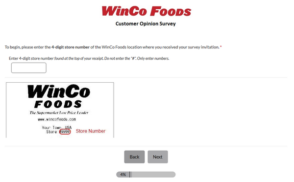 Winco client survey screenshot of the third page.