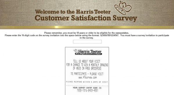 Harris Teeter survey screenshot
