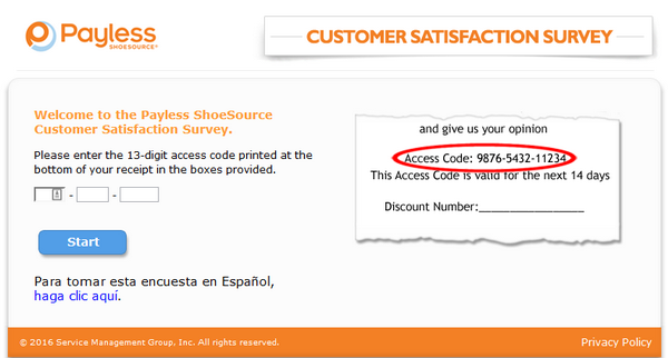 payless survey screenshot