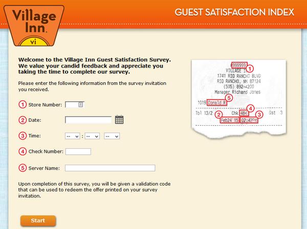 village inn survey screenshot