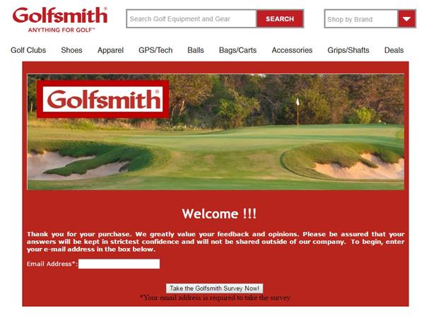 Golfsmith survey screenshot