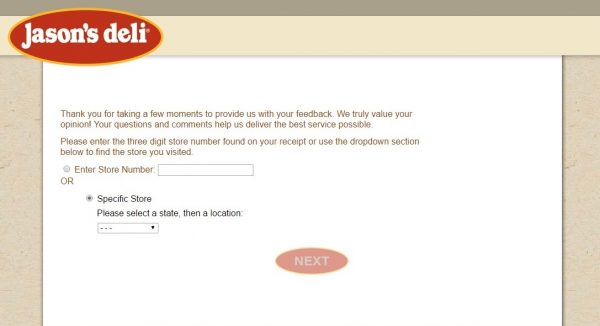 Jasons Deli feedback survey screenshot