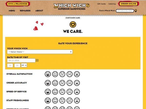 Which Wich survey screenshot