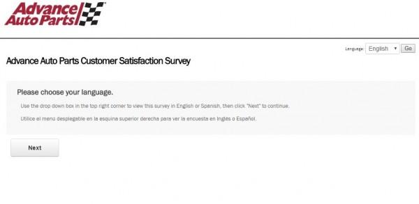 Advance Auto Parts client survey screenshot advanceautoparts.com