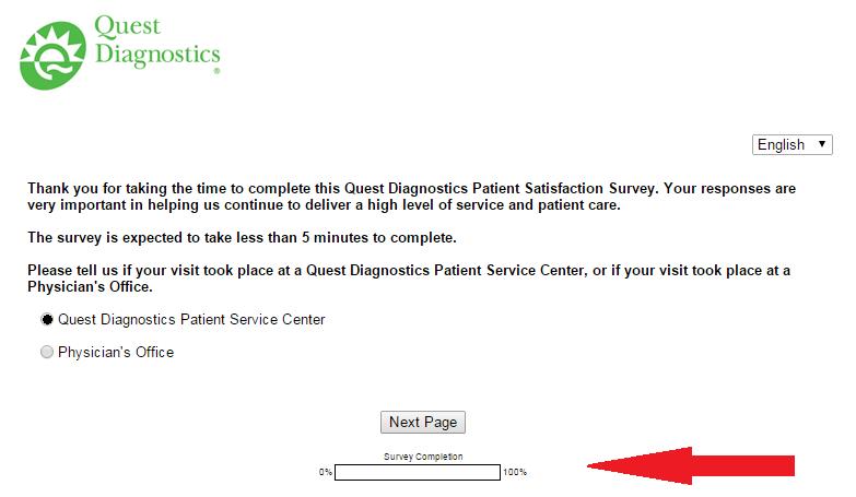 quest diagnostics feedback screenshot first page
